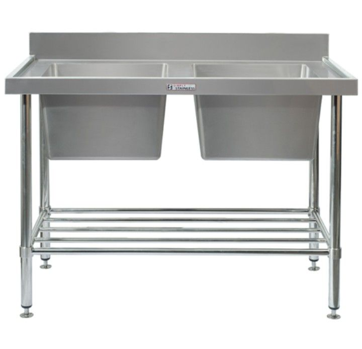 Simply Stainless 06.7.1500 Double sink bench with splash back